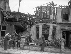 Damage to houses in Hove due to an air raid.