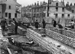 Construction of buildings on Rose Hill Terrace, Brighton 24th November 1945.