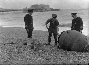 Defusing of a mine on Brighton beach c.1945