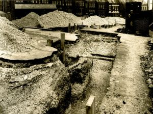 Construction of an air raid shelter in St Luke's Terrace Brighton.