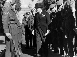Winston Churchill Inspecting members of the Royal Sussex Regiment whilst in Brighton for the Conservative Party Conference, October 1947.