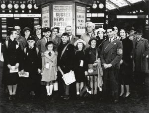 Evacuees at Brighton Station