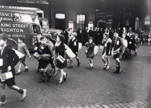 Evacuated children arriving at Brighton Station