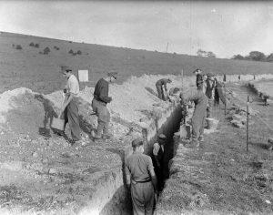 German prisoners at work in Lower Bevendean Brighton, 13 October 1945