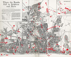 Where did the bombs land in Brighton and Hove?
