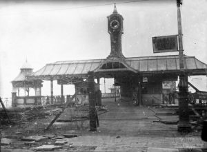 Palace Pier entrance in need of repair, 7 April 1945