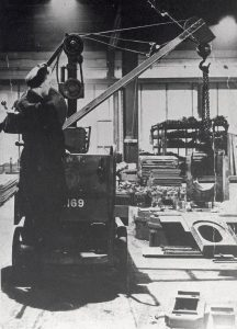 Mrs Sylvia Bellis, aged 22, driving a crane at Brighton Station during the Second World War.