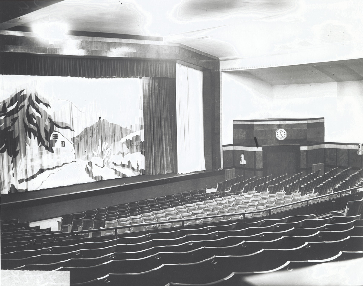 View of interior with seat facing the cinema screen