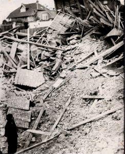 Bomb damaged house.