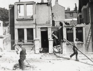 Bomb damaged house in an unidentified location in Brighton during the Second World War.
