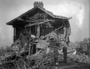 Air raid damage to an unknown house.