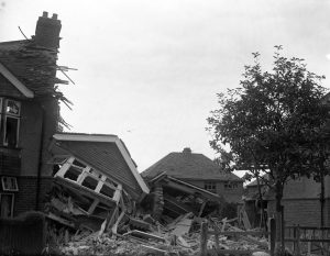 Glass plate negative of air raid damage in Hove.