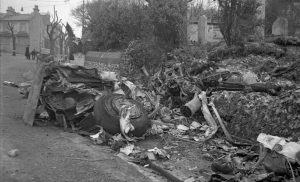 Crashed German plane in the grounds of St Nicholas Church Brighton 22nd April 1944.