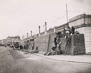 Sandbags to protect the front of Brighton Aquarium, 2 September 1939