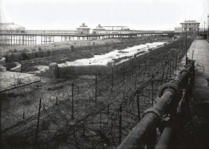 The view of the beach and West Pier during the Second World War