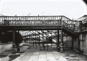 Connecting bridge to the 'Birdcage' bandstand on the King's Road covered in barbed wire