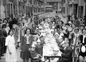 Street party in St Pauls Street Brighton, 12 May 1945