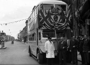 Victory Bus outside Hove Town Hall, 26 May 1945